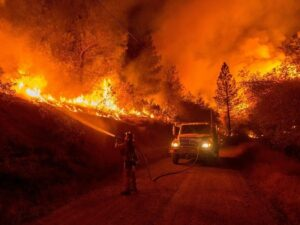 fighting a wildfire
