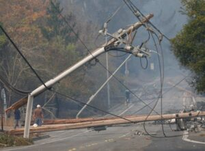 downed powerlines from wildfire